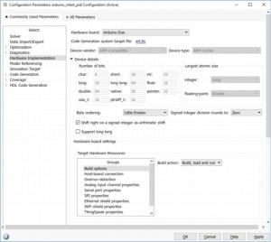 Konfiguracja modelu do uruchomienia na platformie Arduino Due.
