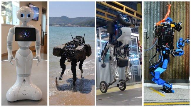 Pepper (SoftBank: Aldebaran Robotics), BigDog, Handle (Boston Dynamics) i S-One (Schaft)