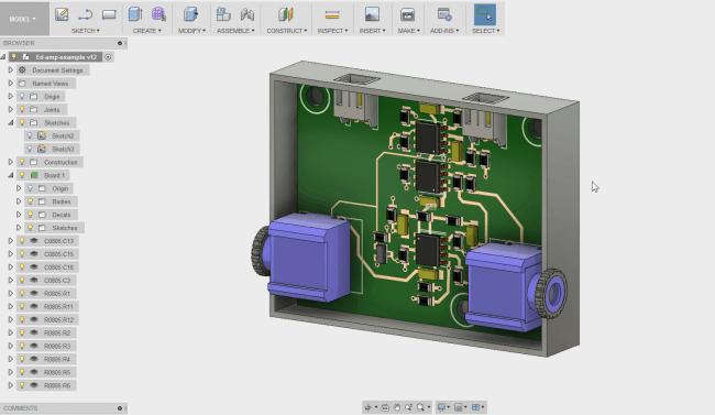 Projekt Fusion 360 kompatybilny z płytką wykonaną w EAGLE.