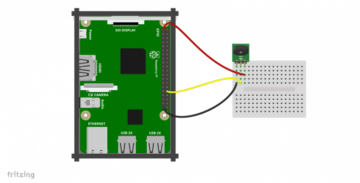 Schemat podłączenia modułu z buzzerem.