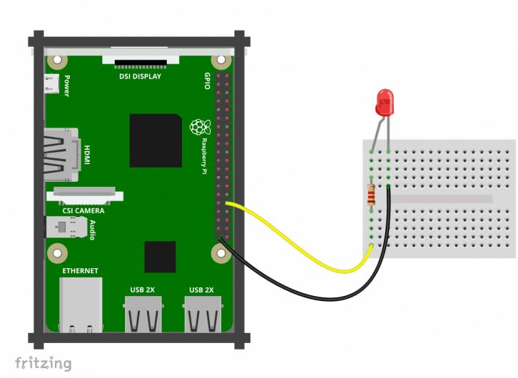 Schemat podłączenia diody do pinu nr 12.