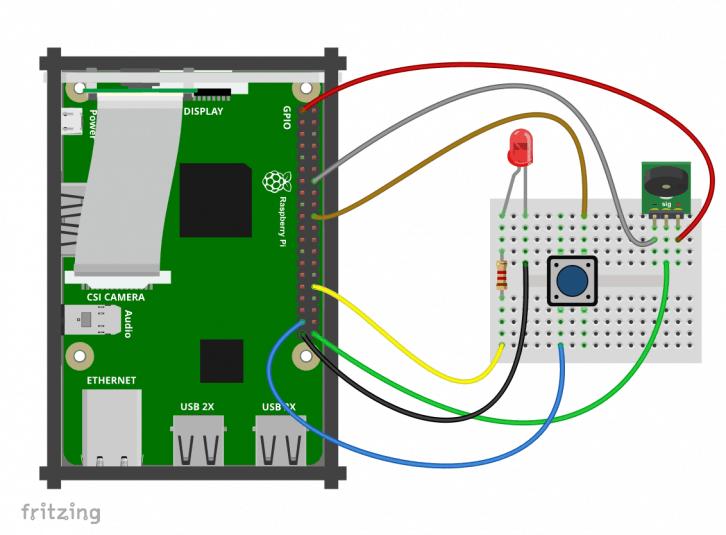 Podłączenie wszystkich niezbędnych elementów do Raspberry Pi.