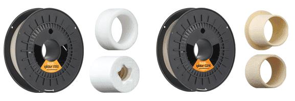 Filamenty iglidur® I150 (po lewej) oraz iglidur® C210 (po prawej).