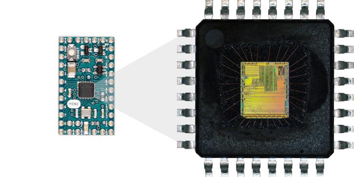 Krzemowe wnętrze mikrokontrolera.