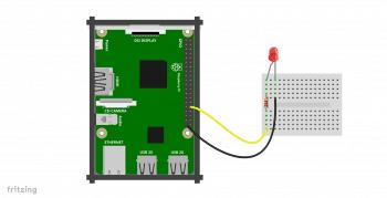Schemat podłączenia diody do Raspberry Pi.