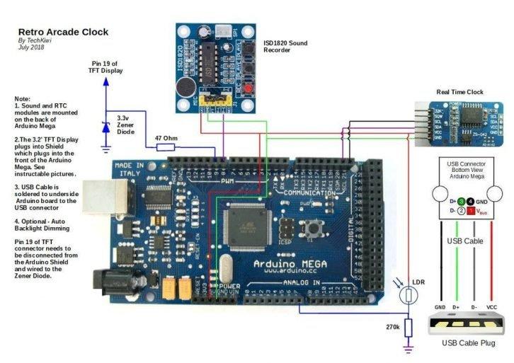Schemat połączeń modułów budzika