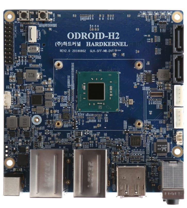 Płytka ODROID-H2 z widocznym procesorem Intel Celeron J4105