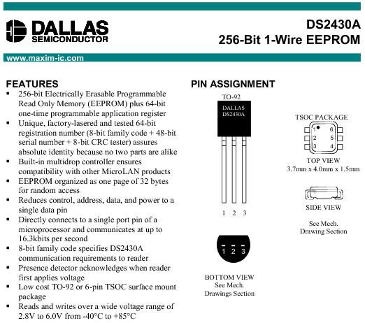 Przykładowa pamięć DS2430A