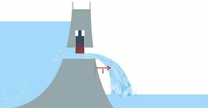 Prąd przedstawiony jako woda wypływająca z tamy. Przykład tzw. analogii wodnej.