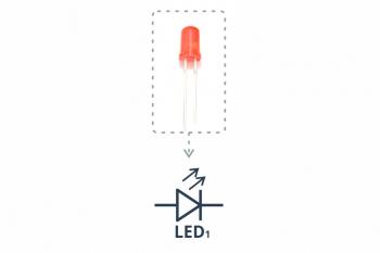 Dioda świecąca (LED) oraz symbol ze schematu ideowego