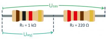 Dzielnik napięcia z rezystora 1k oraz 220R - przykładowe obliczenia