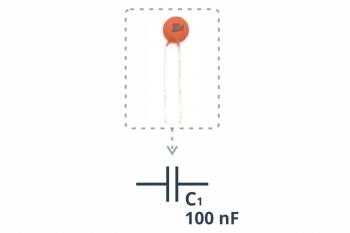 Kondensator ceramiczny 100nF wraz ze schematycznym symbolem