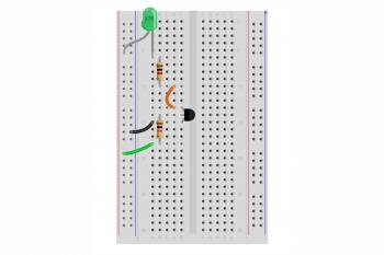 Schemat montażowy układu z tranzystorem