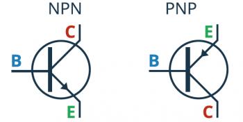 Tranzystor NPN oraz tranzystor PNP - symbole ideowe