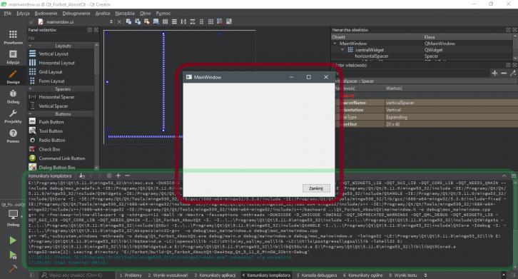 Budowanie i uruchamianie pierwszej aplikacji w Qt