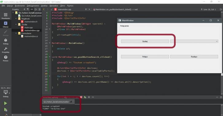 Pierwszy efekt działania programu napisanego w Qt - lista dostępnych portów COM