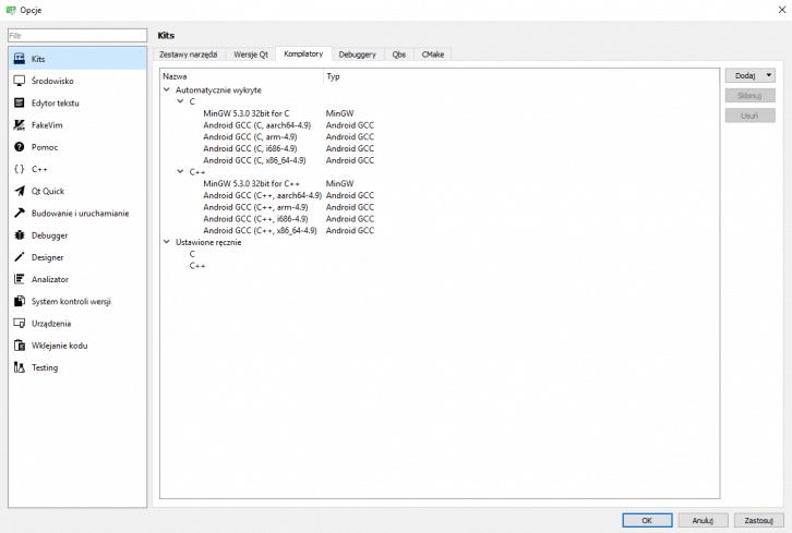 Dłuższa lista dostępnych kompilatorów