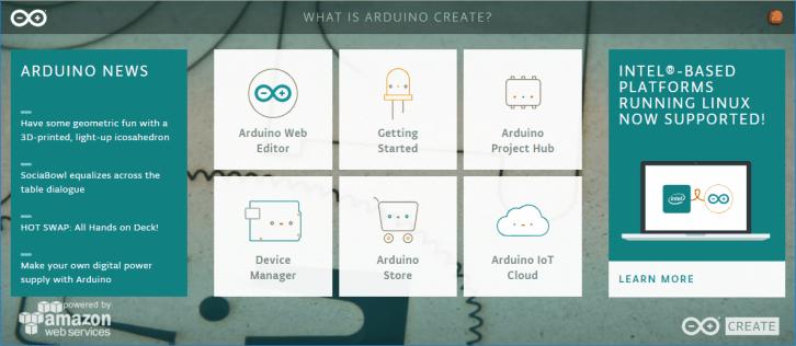 Strona startowa Arduino Create
