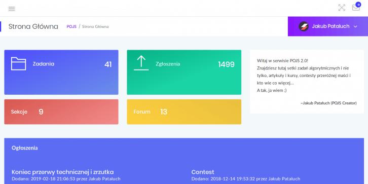 Przykładowy ekran stworzonej platformy