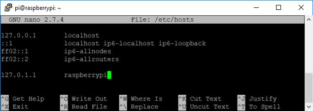 Domyślna nazwa hosta w pliku hosts