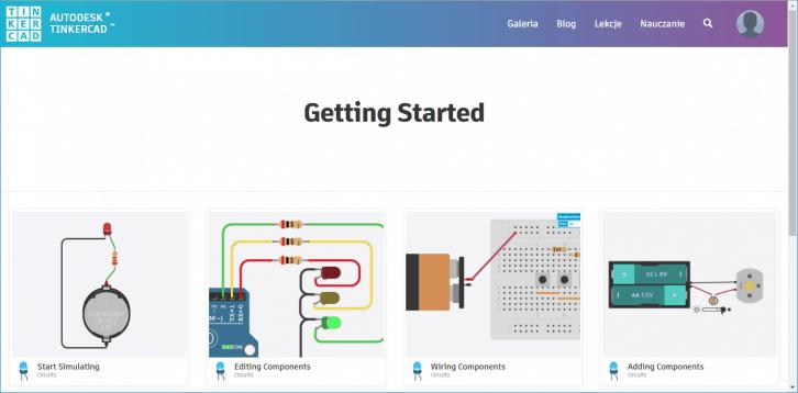 Dostępne lekcje z zakresu Tinkercad (Circuits)