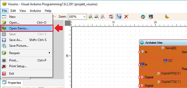 Przykładowe projekty Visuino