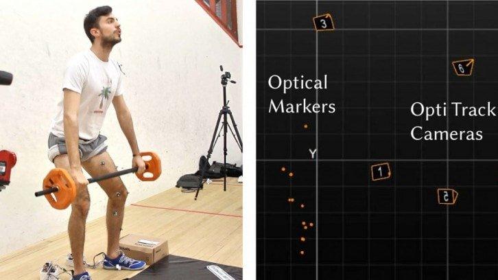 Osoba ćwicząca z naklejonymi czujnikami na nodze i rozmieszczenie kamer śledzących ich położenie