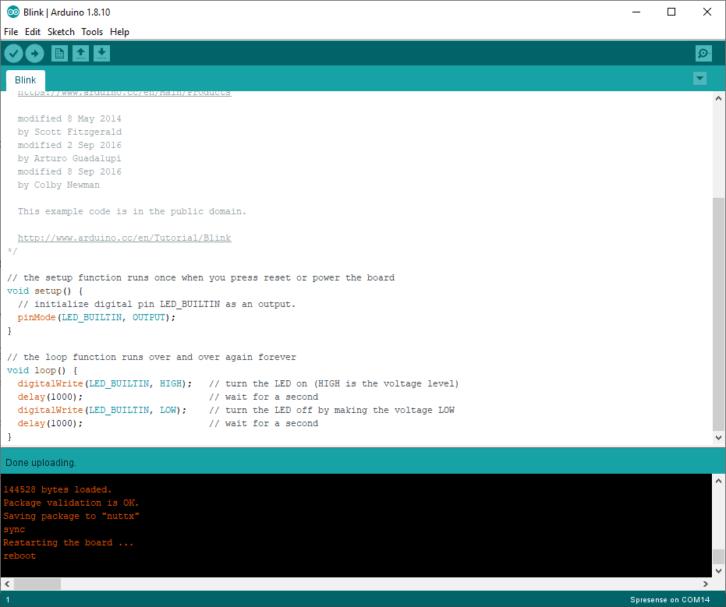 Potwierdzenie wgrania szkicu (w dolnej części okna Arduino IDE)