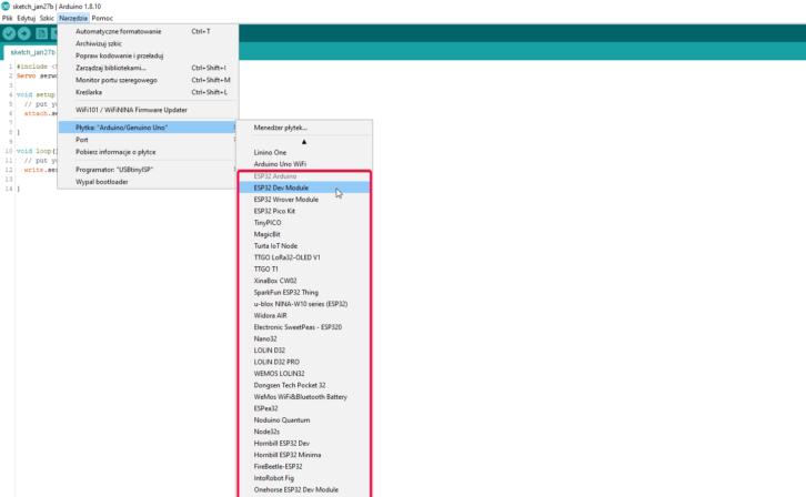 Dostępność płytek z ESP32 w Arduino IDE