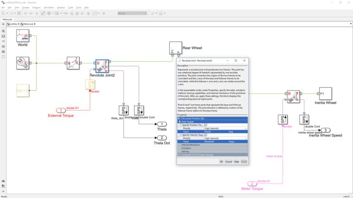 Schemat fizyczny motocykla w środowisku Simscape Multibody