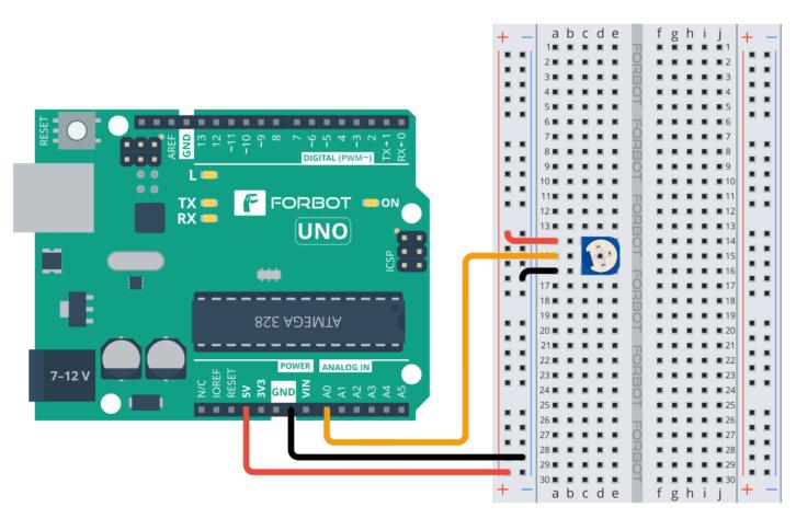Potencjometr podłączony do Arduino UNO