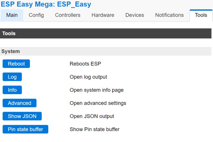 Przykładowy fragment panelu ESP Easy na ESP8266