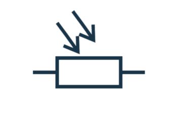 Fotorezystor na schemacie ideowym (symbol)