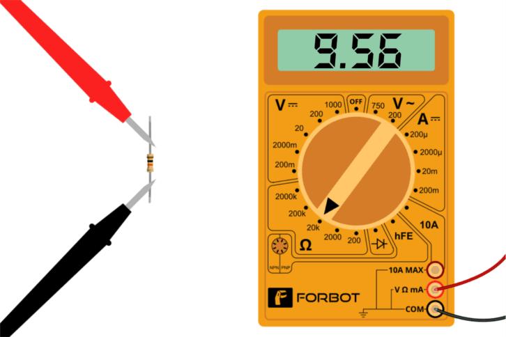 Rezystor 10k - przykładowy pomiar miernikiem