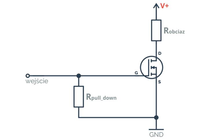 Rezystor pull down w połączeniu z tranzystorem MOSFET N