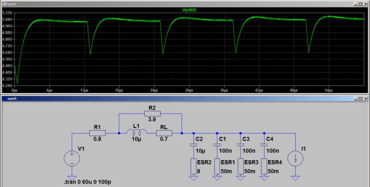 Działanie filtru LC z dodatkowymi kondensatorami