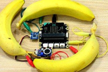 Instrument reagujący na dotykanie bananów