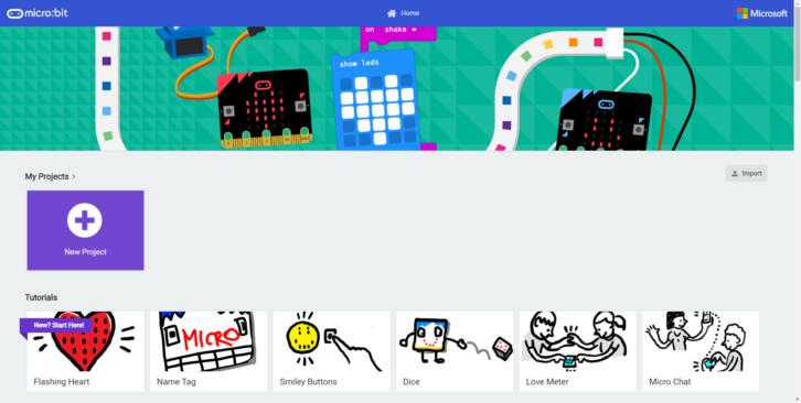 Ekran startowy środowiska Microsoft MakeCode
