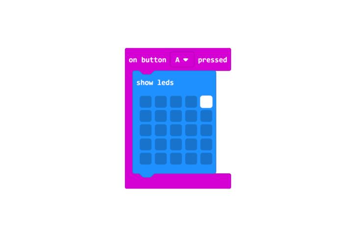 Program włączający diodę po wciśnięciu przycisku. Biały kwadrat symbolizuje diodę, która ma się zaświecić