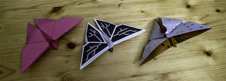 Porównanie papierowych motyli z elastycznym PCB