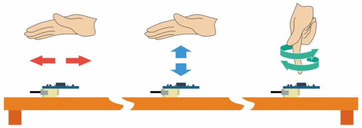 Przykładowe gesty rozpoznawane przez czujnik: ruchy lewo/prawo, góra/dół oraz obroty