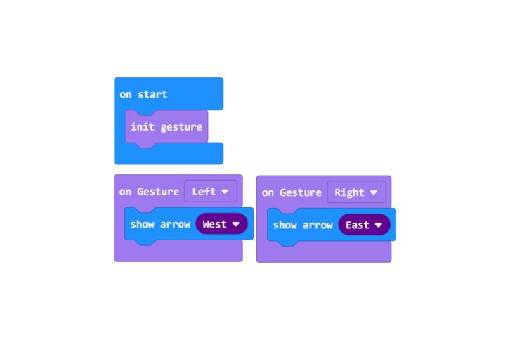 Program testujący działanie czujnika gestów z nowymi strzałkami
