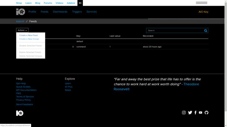 Wstępna konfiguracja projektu w Adafruit IO