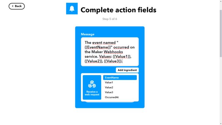 Ustawienia powiadomienia wysyłanego przez aplikację