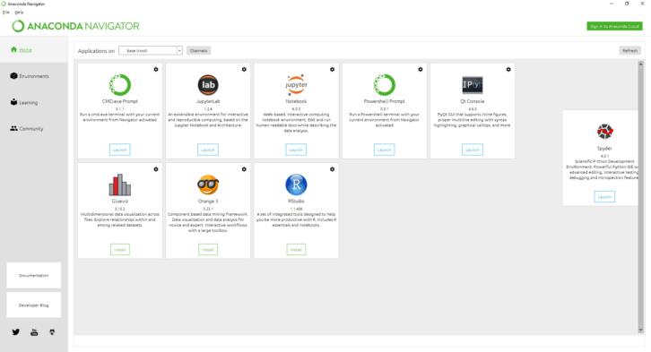Aplikacja JupyterLab w programie Anaconda Navigator