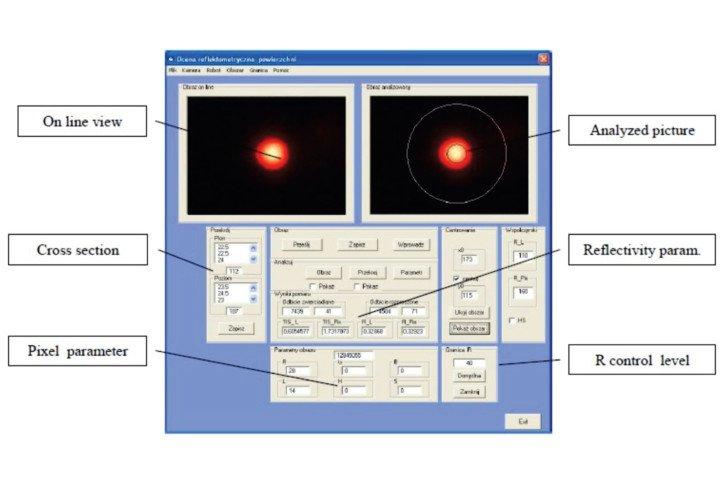 Analiza charakterystyki strumienia powierzchni po odbiciu w programie RoboRefl