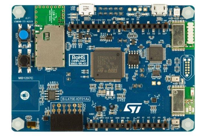Płytka B-L475E-IOT01A, wyposażona w mikrokontroler STM32L475