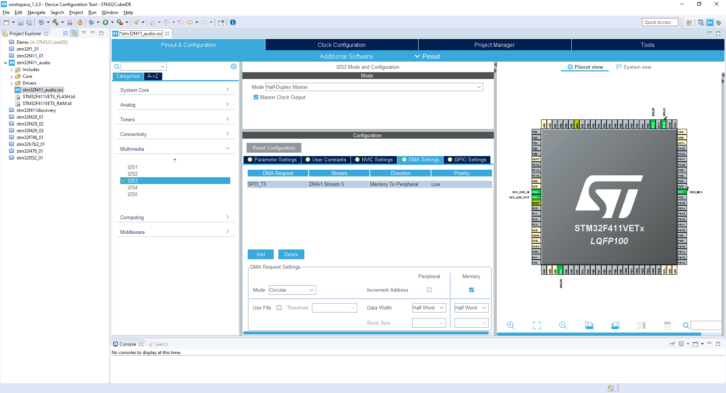 Projekt STM32CubeIDE – DMA Settings