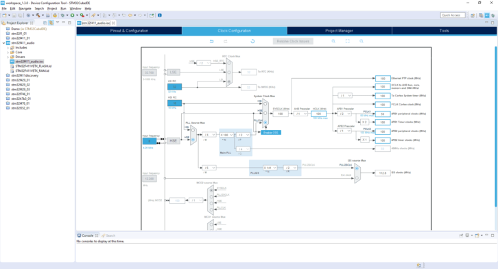 Projekt STM32CubeIDE – Clock Configuration