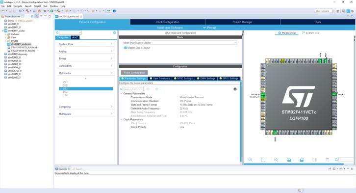 Projekt STM32CubeIDE – konfiguracja I2S Parameter Settings